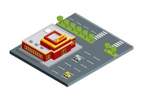 Shopping Center Building Isometric Free Vector