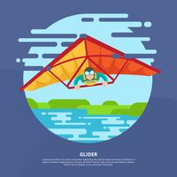 Free Man On Hang-Glider Vector Illustration