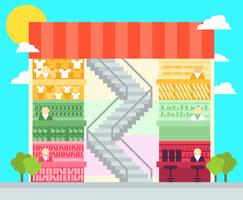 Shopping Center Flat Illustration Vektor