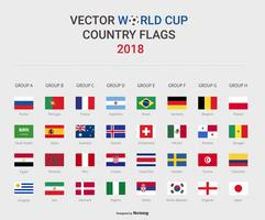 World Cup Soccer Group Stage Country Flags 2018 Vector