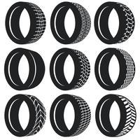Vektor-flacher pneumatischer Reifen-Satz