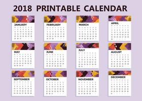 Vector de calendario imprimible 2018 gratis