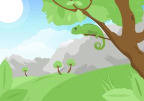 Camaleão em um fundo do vetor da árvore