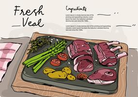 Verse kalfsvleesingrediënten Hand getrokken vectorillustratie