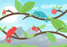 Two Chameleons Walking on Branches Vector Background
