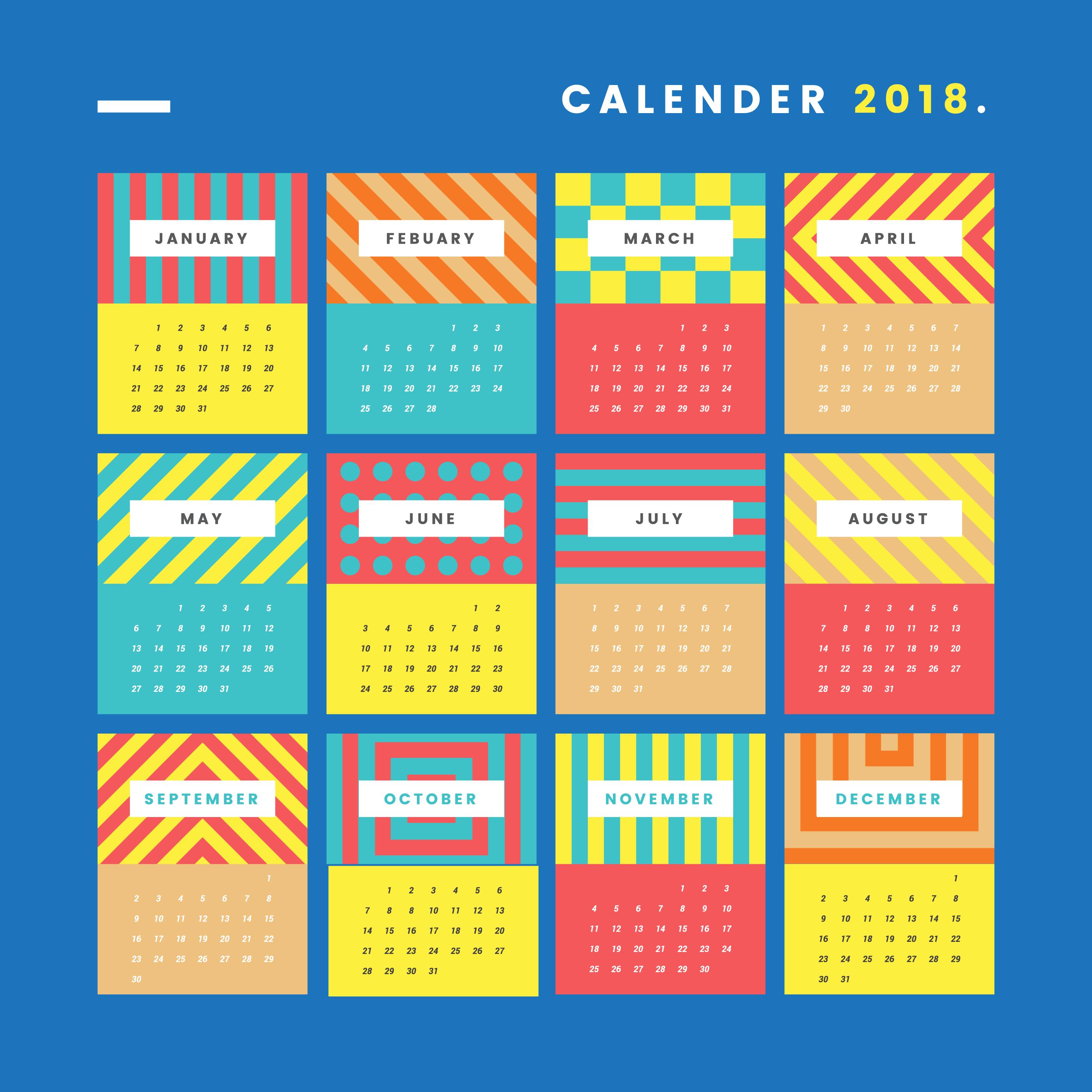 Calendario imprimible moderno - Descargue Gráficos y Vectores Gratis