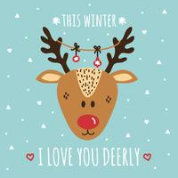 I Love You Deerly Vector Card
