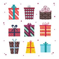 Weihnachtsgeschenk-Kasten-Vektor-Satz