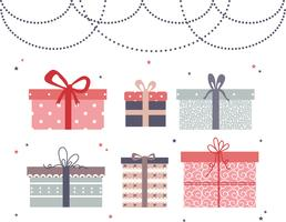 Flat Gift Boxes Vector Set
