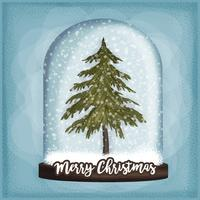 Vector Hand Drawn Snow Globe Illustration
