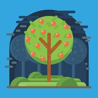 Peach Tree Vector Illustration