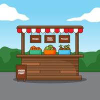 Fresh fruit wooden stall illustration