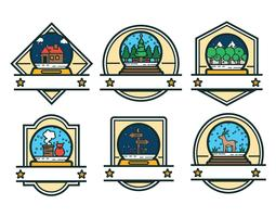 Snow Globe Badge Vector