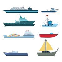 Vecteurs de navires plats