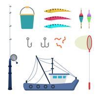 Vecteurs de pêche à plat