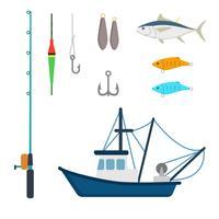 Vetores de pesca plana