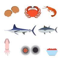 Vecteurs de fruits de mer plats