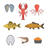 vectores planos de mariscos