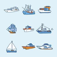 Blue And Orange Boats and Trawler Vectors