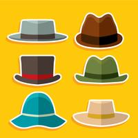 Flat Colored Panama Hat Vector