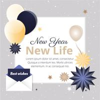 Carte de voeux de nouvel an design plat vecteur libre