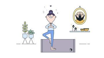 Vector de prática de Yoga grátis