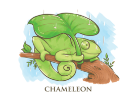 Chamäleon-Karikatur-Illustration