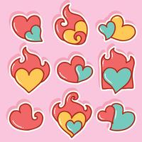 Hand getrokken Flaming Heart Vector