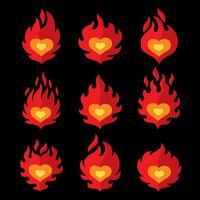 Flammande hjärta på svart vektor