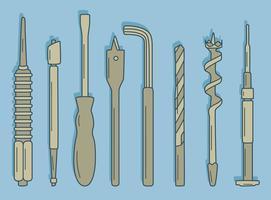 Mano dibujada colección de herramientas de reparación en Vector azul