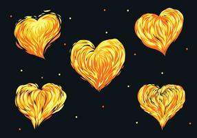 pacote de vetores com coração flamejante