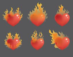 Flammande hjärta vektor uppsättning