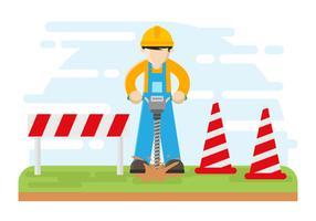 Arbeitskraft, die mit Schnecken-Vektor-Illustration bohrt