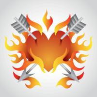 Herz im Flammen-Vektor