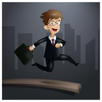 Free Worker Man On Spring Board Vector