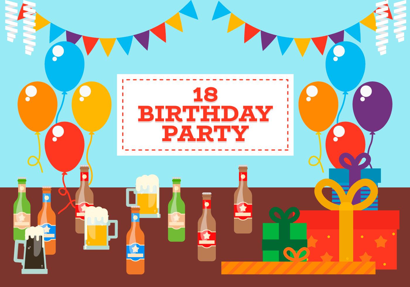 Beste 18 jaar verjaardagspartij gratis vectorillustratie - Download Free YY-03