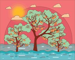persika träd vektor