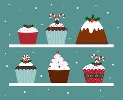 Vector de Navidad Cupcakes