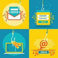 Ensemble de phishing par Internet plat Illustration