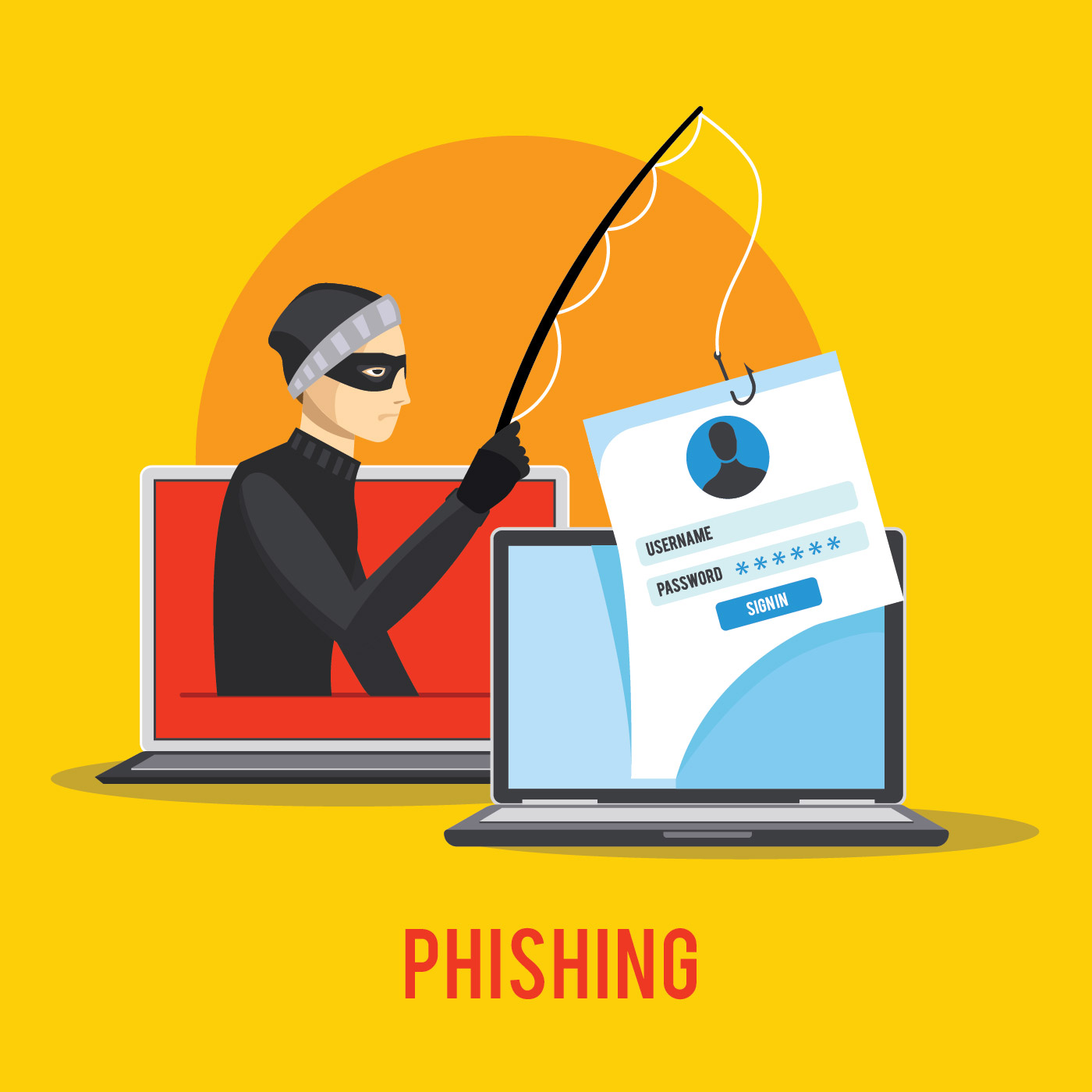 Hacker Phishing Data Via Internet - Download Free Vector Art, Stock