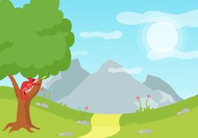 Chamäleon auf einem Baum-Vektor-Hintergrund