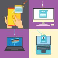 Set of Phishing Via Internet Flat Illustration