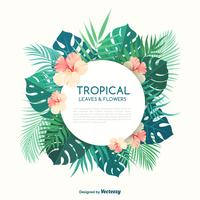 Tropical Palm Leaves And Hibiscus Flowers Vector Banner