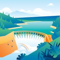 Natürliche Ressourcen Wasserkraftwerk Free Vector