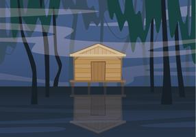 Cabin In Bayou Illustration