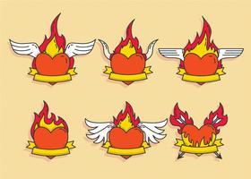 Vecteur de coeur enflammé