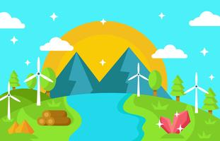 Naturaleza del paisaje con recursos, agua, vector de la turbina de viento