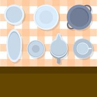 Flat Top View Porslin Set Vector Illustration