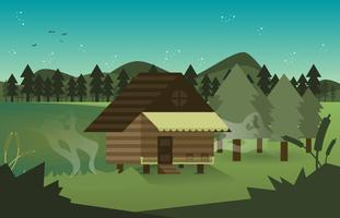 Bayou Cabin Swamp Landscape Illustration Vector