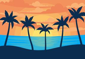 Sunset Palmier Illustration Vectors